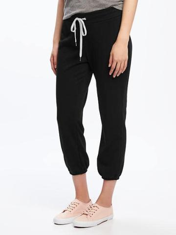 Old Navy French Terry Cropped Sleep Joggers For Women - Blackjack