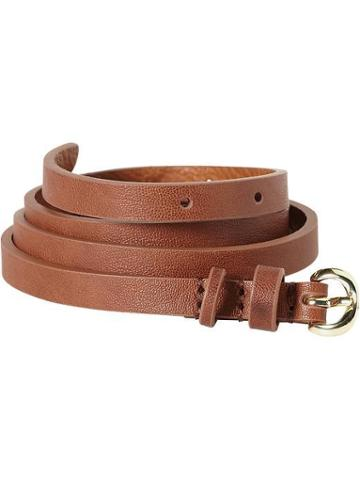 Old Navy Womens Skinny Faux Leather Belts - Cognac Brown