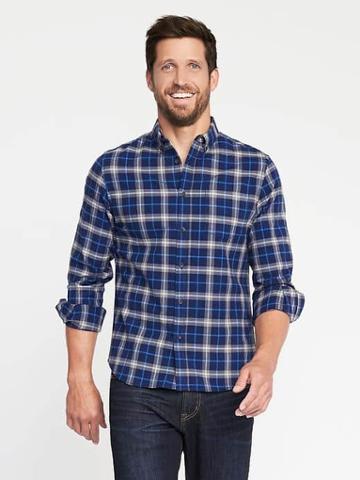 Old Navy Slim Fit Built In Flex Oxford Shirt For Men - Tarmac