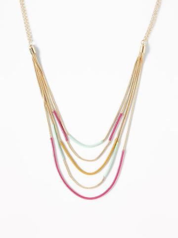 Thread-wrapped Layered Chain Necklace For Women