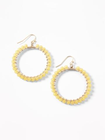 Beaded-hoop Drop Earrings For Women
