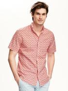 Old Navy Slim Fit Patterned Shirt For Men - Apple Guava
