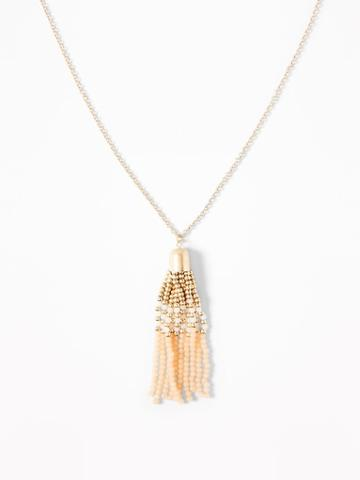 Beaded Tassel Pendant Necklace For Women
