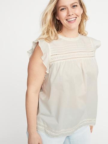 Ruffled Crochet-lace Trim Plus-size Top