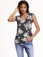 Old Navy Vneck Hi Lo Blouse For Women - Gray Floral Print