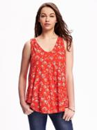 Old Navy Swing Vneck Top For Women - Red Print