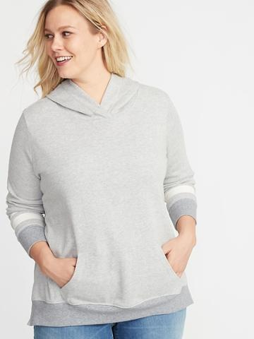 Old Navy Womens Relaxed Plus-size Pullover Fleece Hoodie Medium Heather Gray Size 2x