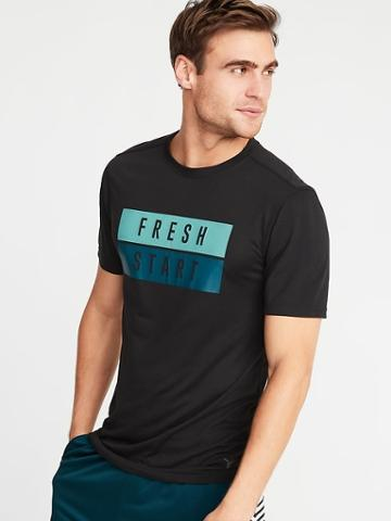 Old Navy Mens Go-dry Graphic Performance Tee For Men Black Size M
