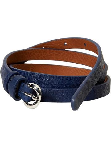 Old Navy Womens Skinny Faux Leather Belts Size L/xl - Navy Blue