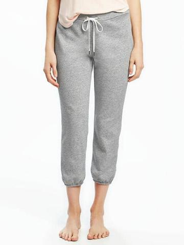 Old Navy French Terry Cropped Sleep Joggers For Women - Light Heather Gray