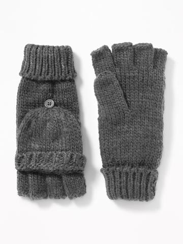 Old Navy Womens Convertible Flip-top Gloves For Women Charcoal Size One Size