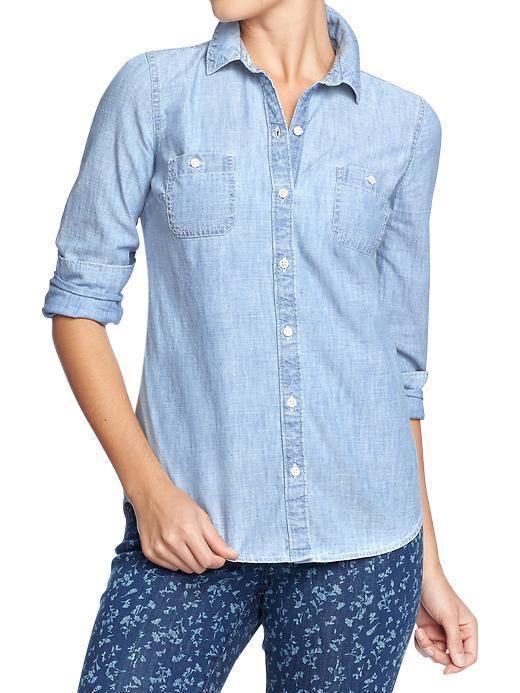 Old Navy Old Navy Womens Classic Chambray Shirts - Light Chambray