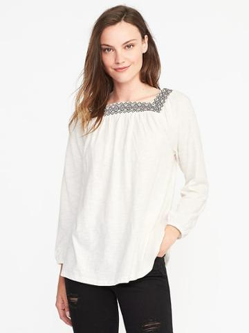 Old Navy Relaxed Embroidered Peasant Top For Women - Creme De La Creme