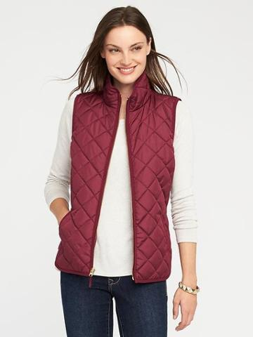 Old Navy Quilted Vest For Women - Gosh Garnet