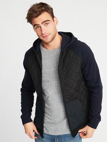 Old Navy Mens Quilted Canvas/sweater-fleece Hooded Jacket For Men Blackjack Size M