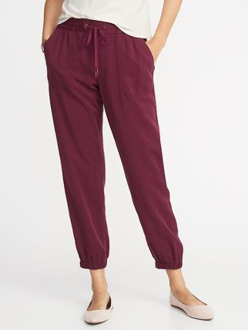 Old Navy Womens Mid-rise Soft Twill Utility Joggers For Women Maroon Jive Size Xs
