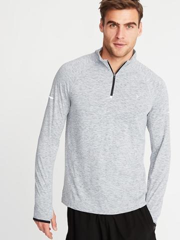 Old Navy Mens Breathe On Go-dry 1/4-zip Pullover For Men Light Heather Gray Size Xxxl