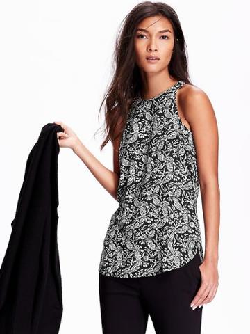 Old Navy Womens Printed Sleeveless Tunics Size L - Black Print