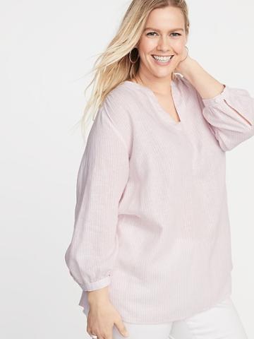 Striped Linen-blend Plus-size Tunic