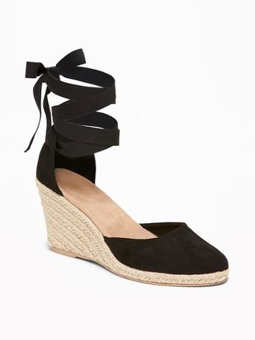 Faux-suede Espadrille Wedges For Women