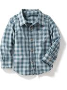 Old Navy Gingham Plaid Shirt - Blue Gingham