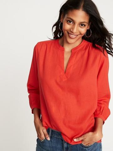 Linen-blend Split-neck Top For Women