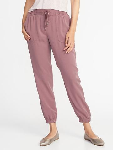 Old Navy Womens Mid-rise Soft Twill Utility Joggers For Women Mauve On Down Size S