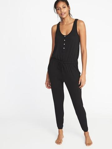 Old Navy Womens Relaxed Plush-knit Sleep Jumpsuit For Women Black Size M