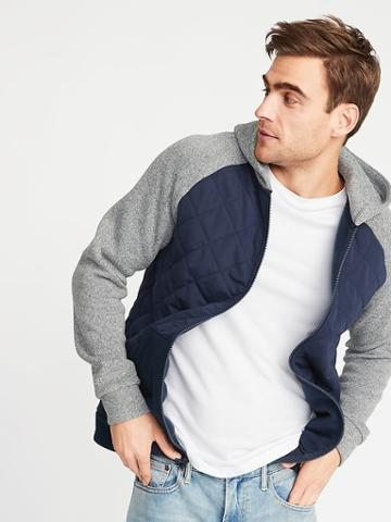 Old Navy Mens Quilted Canvas/sweater-fleece Hooded Jacket For Men In The Navy Size L