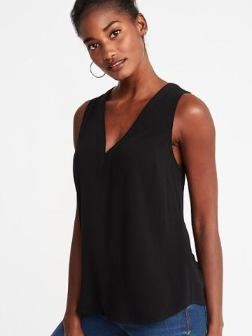 Old Navy Womens Relaxed Crepe V-neck Tank For Women Black Size M
