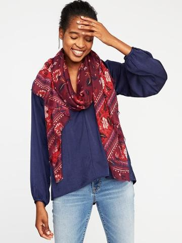 Old Navy Lightweight Printed Scarf For Women - Large Red Floral