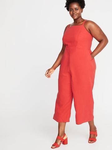 Linen-blend Cami Plus-size Jumpsuit