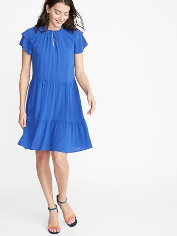 High-neck Ruffle-trim Swing Dress For Women