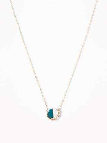 Two-tone Pendant Chain Necklace For Women