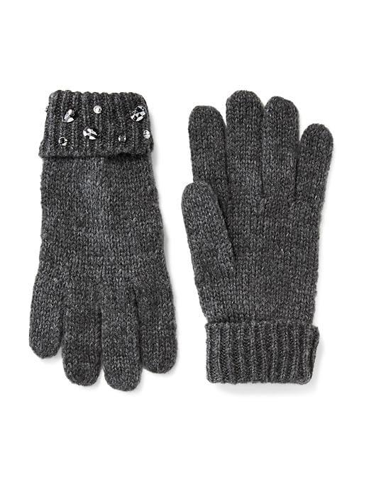 Old Navy Embellished Sweater Knit Gloves For Women - Heather Grey