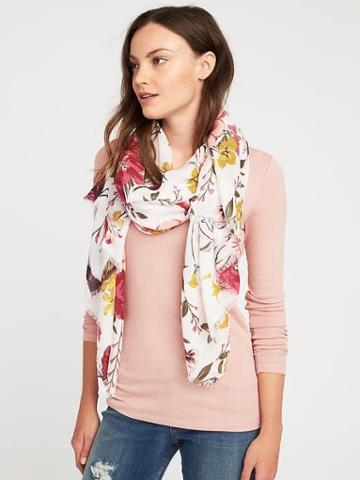 Old Navy Lightweight Printed Scarf For Women - Pink/white Floral