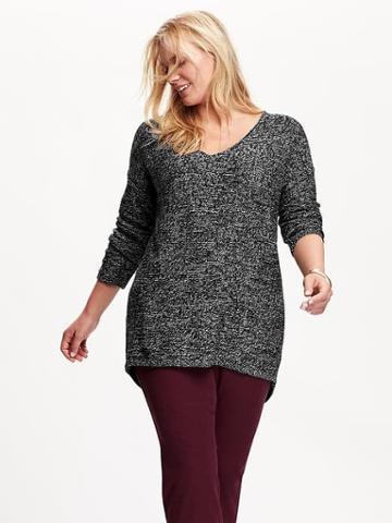 Old Navy Womens Plus V Neck Sweater Tunics - Black Marl