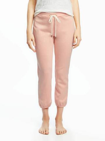 Old Navy French Terry Cropped Sleep Joggers For Women - Just Peachy