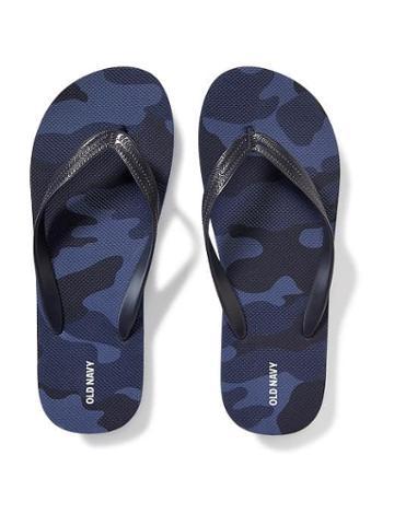 Old Navy Printed Flip Flops For Men - Blue It Off