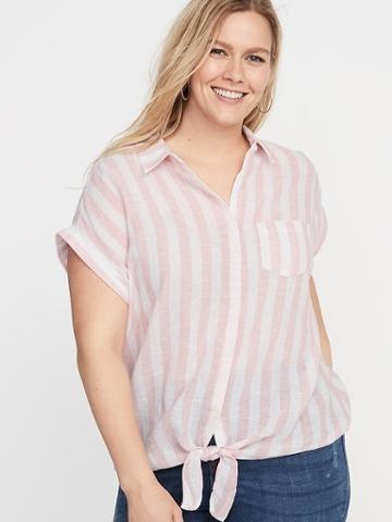 Striped Linen-blend Tie-hem Plus-size No-peek Shirt