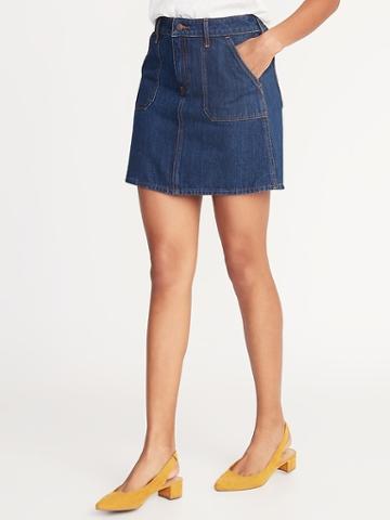 Utility-pocket Denim Skirt For Women