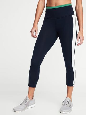 High-rise Elevate Side-stripe Compression Crops For Women