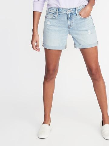 Slim Distressed Denim Shorts For Women - 5-inch Inseam