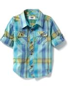 Old Navy Plaid Poplin Shirt - Blue Plaid