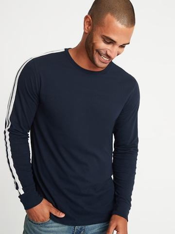 Old Navy Mens Soft-washed Sleeve-stripe Tee For Men In The Navy Size S
