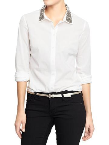 Old Navy Old Navy Womens Embellished Collar Shirts - Bright White