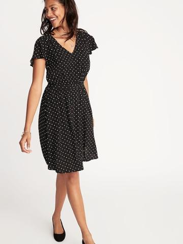 Waist-defined V-neck Dress For Women