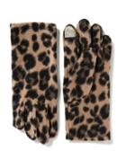 Old Navy Performance Fleece Tech Tip Gloves For Women - Leopard