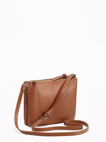 Old Navy Double Zip Crossbody Bag For Women - New Cognac