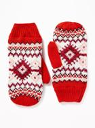Old Navy Womens Sweater-knit Mittens For Women Red Fair Isle Size One Size